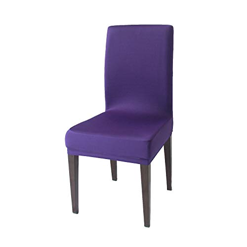 Purple Spandex Stretch Dining Chair Covers - 4 PCS Knit Removable Washable Dining Chair Slipcovers (Purple, 4)