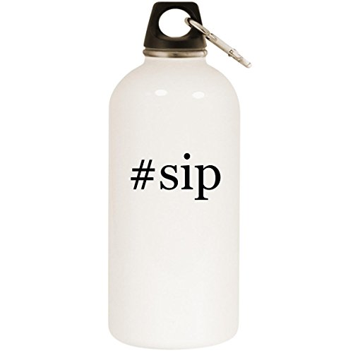 Molandra Products #sip - White Hashtag 20oz Stainless Steel Water Bottle with Carabiner