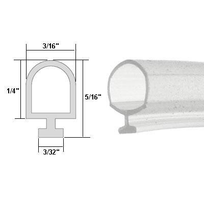 - Clear Vinyl Shower Door Bulb Seal - 84 in long
