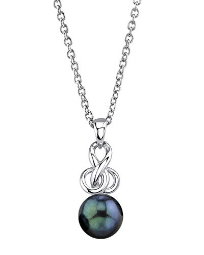- THE PEARL SOURCE Sterling Silver 7.5-8mm Round Black Akoya Cultured Pearl Adrian Pendant Necklace for Women