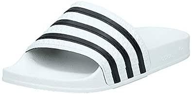 adidas Men's Adilette Slides, White/Core Black/White,6 US