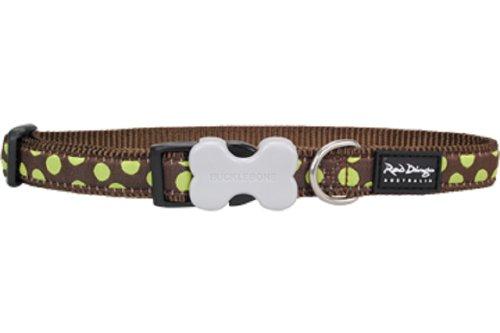 Red Dingo Designer Dog Collar, Medium, Green Spots on Brown