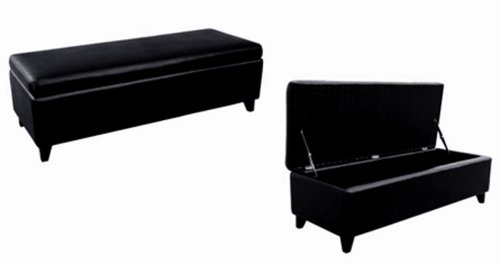 Amazoncom Baxton Studio Full Leather Bench Storage Ottoman Black