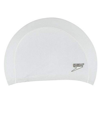Speedo Stretch Cap (Speedo Lycra Solid Swim Cap, White, One Size)