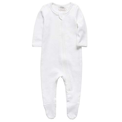 O2Baby Boys Girls Organic Cotton Zip Front Sleeper Pajamas, Footed Sleep 'n Play (Newborn,Off-White)