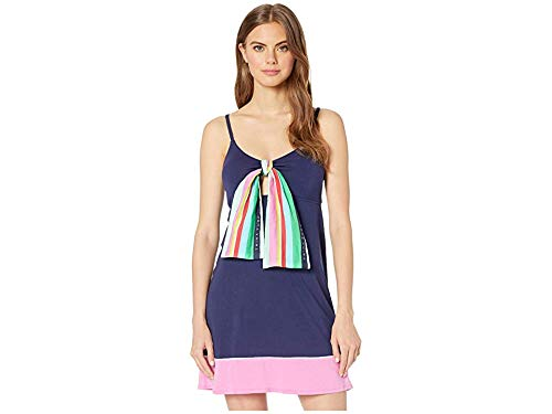 Trina Turk Women's Keyhole Beach Dress with Scarf, Blue//Deco Stripe, L ()