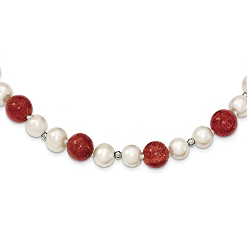 ICE CARATS 925 Sterling Silver Freshwater Cultured Pearls Stabilized Red Coral Chain Necklace Pendant Charm Pearl Fine Jewelry Ideal Gifts For Women Gift Set From (Red Freshwater Pearl Necklace)