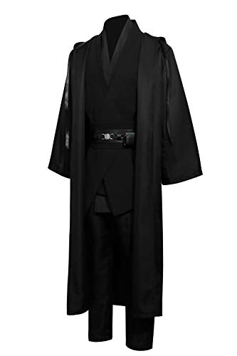 Jila Men & Kids Tunic Hooded Robe Cloak Knight Gothic Fancy Dress Halloween Masquerade Cosplay Costume Cape (XXL, Black Tunic Cloak Set)]()