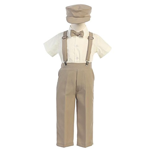 Lito Baby Boys Khaki Suspender Pants Hat Outfit Set 18-24M