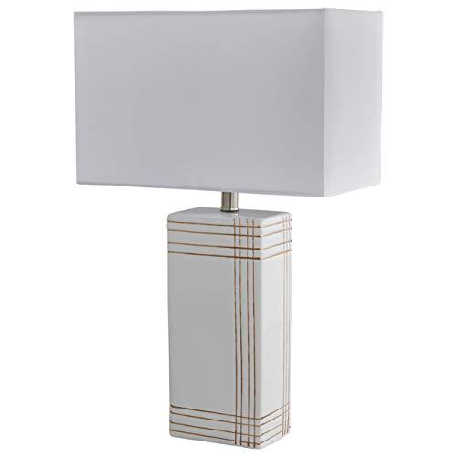 Rivet Mid Century Modern Gold Criss-Cross Stripe Ceramic Table Lamp With LED Light Bulb - 21 Inches, White