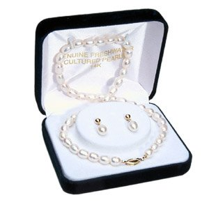 14k Gold White Rice Pearl Necklace and Earring Set 6.5-7mm