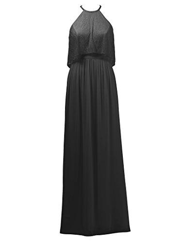 Alicepub Dentelle Robe De Demoiselle D'honneur En Mousseline De Soie Longue Maxi Robe De Soirée Robe De Soirée De Mariée Noire