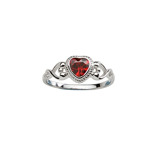 Sterling Silver Birthstone Heart Ring (Sterling Silver January CZ Simulated Birthstone Baby Ring with)