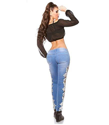 Mujeres Pantalones Mezclilla Las Rasgados Leggings Duro Lápiz Encaje Blanco Negro Jeans Floral Stretch Huixin Patchwork De BcY1Wfqv