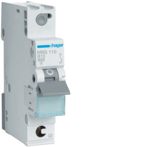 Hager MBS110 LS-Schalter 1P 6kA B-10A QC Quick Connect 1M
