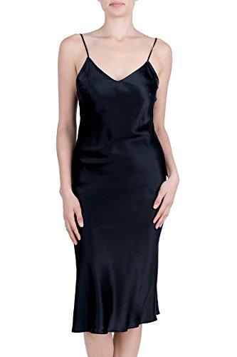- OSCAR ROSSA Women's Luxury Silk Sleepwear 100% Silk Full Slip Chemise Lingerie Nightgown,Black,Medium