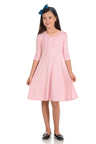 Honey Vanilla Girls' A-Line Trapeze Dress Medium 7-8 Years Pink (Pink Dresses For Kids)