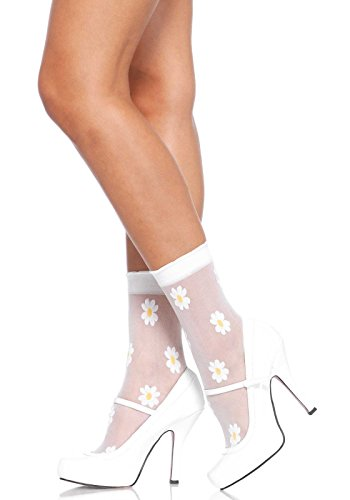 Leg Avenue Women's Sheer Daisy Anklets, White/Yellow, One Size (Anklet Sheer)