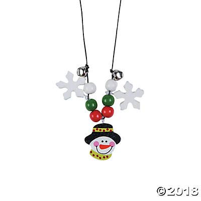 (12 Kits) Beaded Snowman Necklace Craft