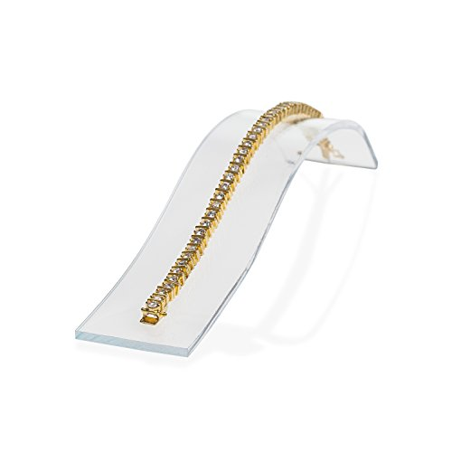 Source One Acylic Curved Bracelet Ramps, 7 Inch - Deluxe Jewelry Displays (6 Pack, Clear)