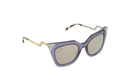 (Fendi Women's Iridia Corner Accent Sunglasses, Blue Grey Transparent/Bronze, One)