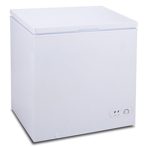 GHP 5.2 Cu. Ft. White R600a Upright Compact Chest Freezer Food Storage with Basket