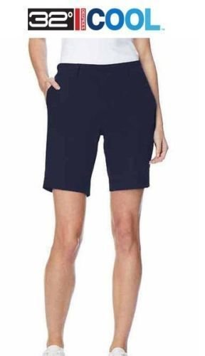 32 DEGREES New Ladies Cool Woven Casual Cargo Shorts - Stretch Fabric. Size: 8-10. Hero Navy