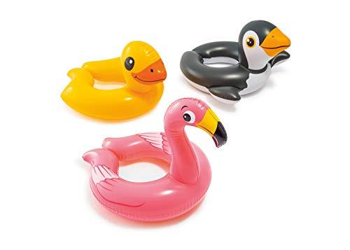 ADRI'S TOYS (Set) Inflatable Animal Split Swim Ring Pool Float (Flamingo, Duck & Penguin) ()