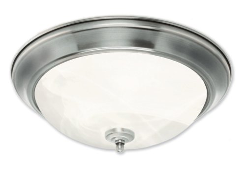 Good Earth Lighting Taverna 15-inch Direct Wire Flush Mount Light – Brushed Nickel For Sale