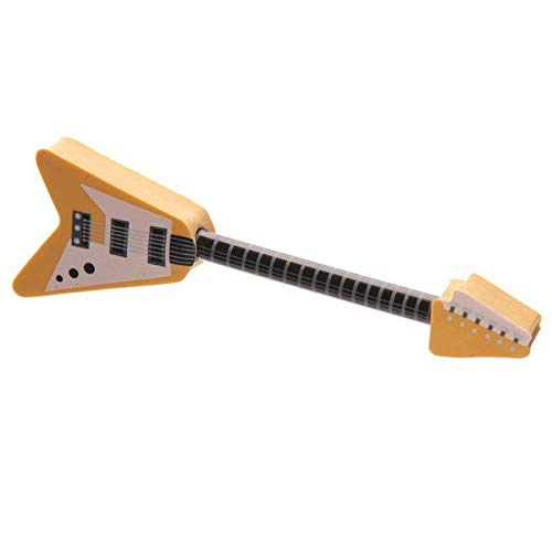Rock Gitarre Bleistift /& Radierer Set in Gelb