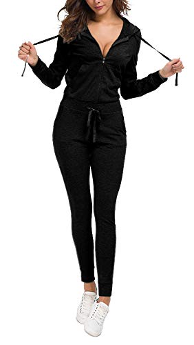 Top-Vigor Womens Tracksuits 2 Piece Velour Hoodies and Pants Set Sweatsuits Solid Color Black ()