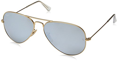 Ray-Ban RB3025 Aviator Flash Mirrored Sunglasses, Matte Gold/Polarized Silver Flash, 58 mm ()