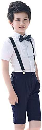 (コ-ランド) Co-land 男の子 子供服 ストライプ フォーマル スーツ 半袖 サスペンダー付き ボーイズ 入学式 結婚式 4点セット スーツセット 洋服 ハーフパンツ 120 ホワイト