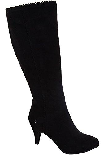 BOUTIQUE Women's Heels Trim ® Ladies FANTASIA Knee Pointed Boots Scallop Black Toe High Black Suede UxFgcqACw