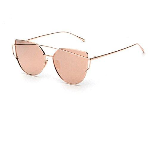 JULI® Cateye Gespiegelte Flache Objektive Straße Mode Metall Frame Damen Herren Sonnenbrille S1904