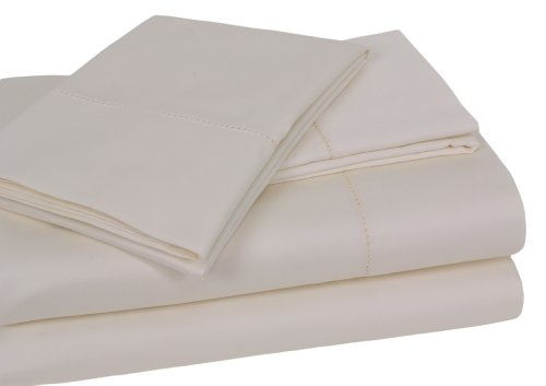 Elite Home Andiamo Solid Collection Single Ply 500-Thread Count 100-Percent Egyptian Cotton 4-Piece Queen Sheet Set, Ivory