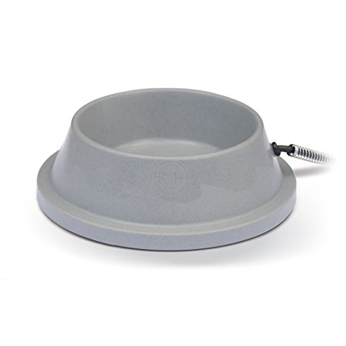 K&H Pet Products Thermal-Bowl Heated Cat & Dog Bowl 32oz. Slate Gray 12W (Bowls Outdoor Water For Dogs)