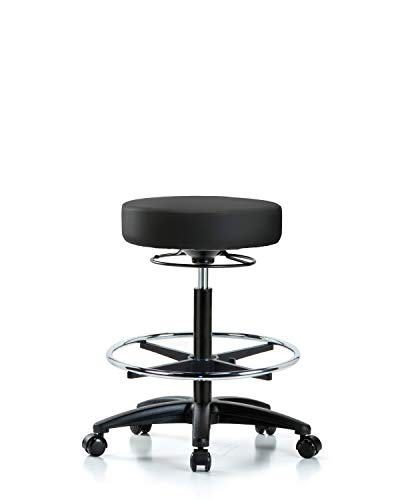 LabTech Seating LT45141 High Bench Stool, Vinyl, Nylon Base, Chrome Foot Ring, Casters, Black by LabTech Seating (Image #1)