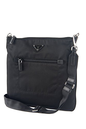 Prada Tessuto & Saffiano Unisex Messenger Cross-body Work Travel Bag Black (Prada Messenger Tessuto)