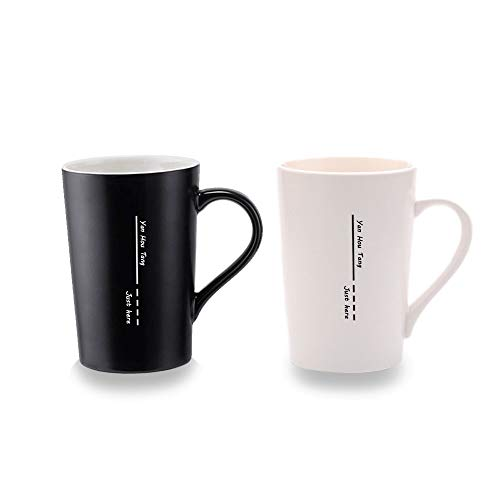 Yan Hou Tang 2 of Set Simple Plain Mug Cup Black & White for Coffee Juice Beer Wine Tea Hot Cold - 380ml 13.5oz Serving Carving Crafts Style for Home Office Club Party Drink