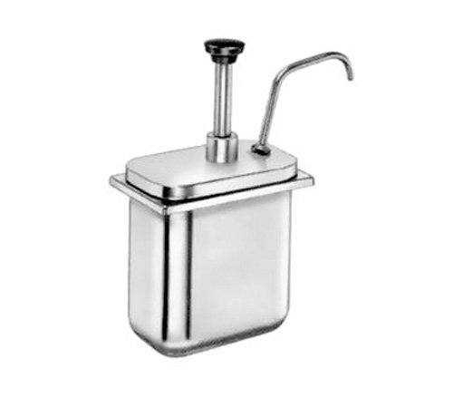 Server Products CP-200-83300 Fountain Jar Pump and Lid, Fits 2 quart Shallow Countertop Base, Dispenses Thick and Particulate Toppings, 1 oz. Full Portion, Stainless Steel