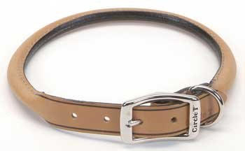 Coastal Pet Products DCP120822TAN Leather Circle T Oak Tanned Round Dog Collar, 22 by 1-Inch, Tan (Rolled Tan Leather)
