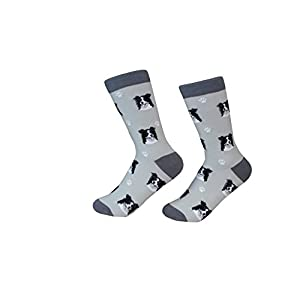Border Collie Socks -200 Needle Count - Soft Combed Cotton - Unisex, Grey, One Size Fits Most 20