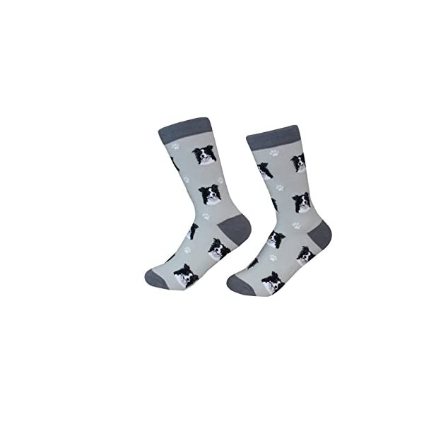 Border Collie Socks -200 Needle Count - Soft Combed Cotton - Unisex, Grey, One Size Fits Most 1