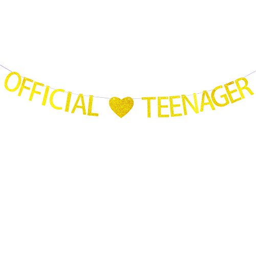 Official Teenager Banner with Gold Glitter Heart Decorations Hanging Decor for 13th Birthday Party Décor Gold Banner Pertlife -