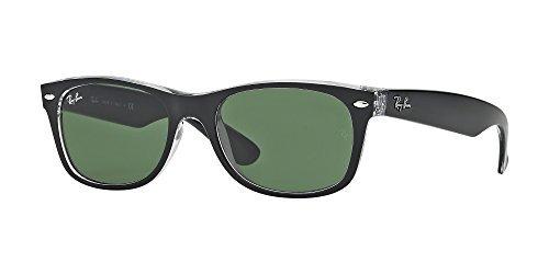 Ray Ban RB2132 NEW WAYFARER 6052 55M Black On Transparent/Green Sunglasses For Men For Women
