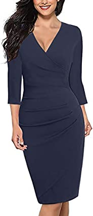 Alice & Elmer Women's Cotton Classic V-Neck 3/4 Sleeve Knee Length Ruched Sheath Casual Formal Party W