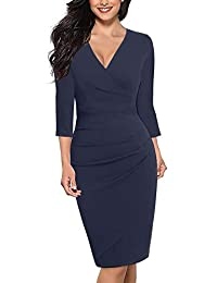 Alice & Elmer Women's Cotton Classic V-Neck 3/4 Sleeve Knee Length Ruched Sheath Casual Formal Party Work Faux Wrap Dress