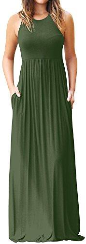 AmySister Neck Maxi Crew Green Waist Women's Pocket High Tank Sleeveless Dress HfHwr8qE