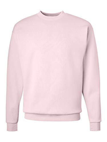 Hanes Mens Long Sleeve Crewneck Sweatshirt - PALE PINK - Small